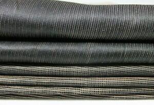 VINTAGE BLACK TEXTURED distressed veg tan Leather 2 skins 12sqf 0.8mm #A5170