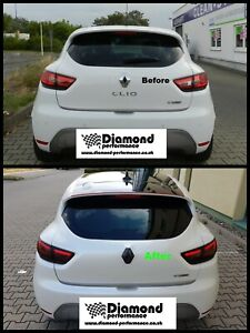 Rear GLOSS BLACK Badge COVER for Renault Clio 4 FOR CARS WITH REAR CAMERA