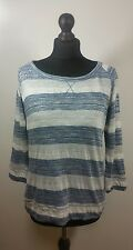 Womens Striped Slouchy Jumper 16 44 Loose 3/4 Sleeve Festival Tee Shirt Top Chic