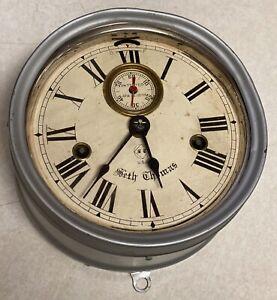 VINTAGE SETH THOMAS U.S. NAVY SHIP'S 24 HOUR CLOCK Pat. 1878 Works Great!