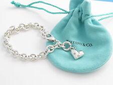 Tiffany & Co RARE Silver 5 Five Diamond Heart Etoile Charm Bracelet  Bangle!