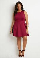 Forever 21 Plus Size Magenta Scuba Knit Fit & Flare Dress 1X/2X3X