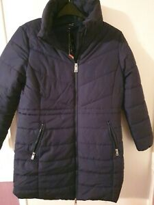 M&S Lightweight navy  concealed hooded coat thermo warmth Uk Size 14