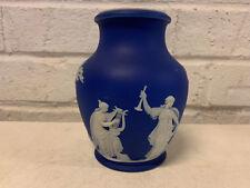 Antique Wedgwood Blue Jasperware Vase w/ Women / Muses Decoration Harp Horn