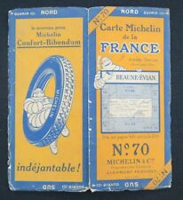 Carte MICHELIN n°70 BEAUNE EVIAN 1927 map Mapa Bibendum pneu guide