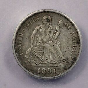1891-O 1891 Seated Liberty Dime ICG VF35 Details