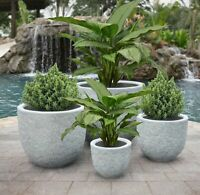 Set of 4 Round Garden Planters Rough Dark Stone Finish Commercial Quality