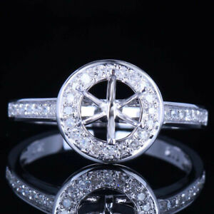 6-6.5MM ROUND NATURAL DIAMONDS ENGAGEMENT SEMI MOUNT RING SOLID 10K WHITE GOLD