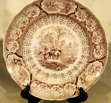 Early Staffordshire Transfer Hackwood Arabian Sketches Purple Dinner Plate 10.5""