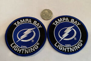 """(2)-Tampa Bay Lightning Vintage Style Embroidered Iron On Patches.  3""""x 3"""" Nice!"""
