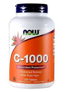 NOW Foods VIT C 1000mg immune system booster Ascorbic Acid 250 Vtabs