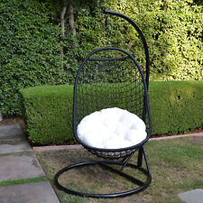 BLACK / Khaki  Wicker Rattan Swing Chair Weaved Egg Shape Hanging Hammock