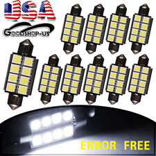 10 X White 42mm 5050 8SMD Canbus Error Free Festoon LED Map Dome Interior Light