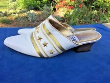 TIMOTHY HITSMAN Vintage GOLD STARS 4th of July Clogs High Heels Women Shoes Sz 8
