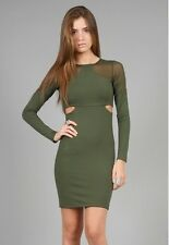 NWT $275 Donna Mizani Sheer Cut Out Dress in Forest Green sz L