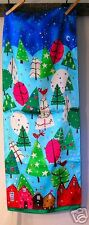 Echo Christmas Scarf~Whimsical~Holiday~Bright~Blue~NWOT~Houses~Multi~polyester