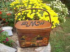 Wood Purse Picnic Basket Old Store vintage boho Retro Shopping Urban Multi-Color