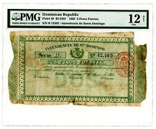 Dominican Rep ... P-48 ... 2 Pesos Fuertes ... 1862 ... *F*. PMG 12 (Net)- Rare!