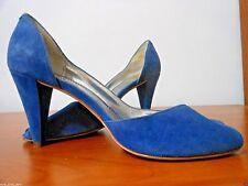 Worn 1X  FRANCO SARTA Open Toe BLUE SUEDE Scalloped Backs HIGH HEEL Size 9 1/2 M