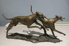 More details for large david geenty cold cast bronze racing greyhounds sculpture