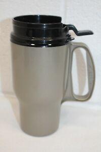 Vintage Aladdin 12 oz Insulated Travel Coffee Mug Cup Dark Gray & Black Lid EUC!