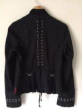 Tripp NYC Womens Jacket Black Goth Lace Up Jacquard Hook Eye Corset Blazer Med
