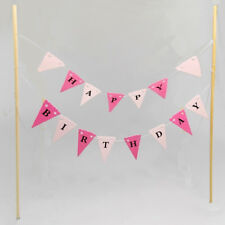 Pink Cake Topper Flag Garland Banner Bunting Happy Birthday Scallops DIY Decor