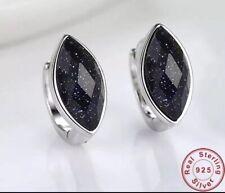 925 Sterling Silver Natural Black Sandstone 8mm Oval Stud Leverback Earrings