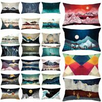 Soft Short Plush Cushion Covers Pillow Case Home Bed Decor Natural Scenery Print