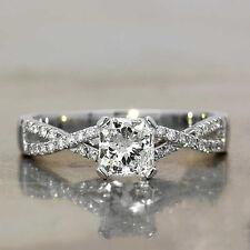 Certified 2.78Ct Princess Cut Wedding Engagement Superb Ring in14K White Gold.