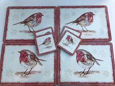 Set Of 4 Placemats & 4 Coasters Winter Christmas Robin Dining Boxed by Leonardo