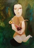 """Girl with flower: oil painting on canvas panel (19"""" x 27"""")"""