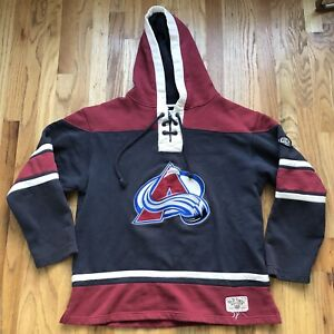 Men's Old Time Hockey Colorado Avalanche Hooded Jersey Sweater Sweatshirt Sz L