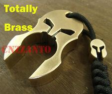 Solid Brass Spartan Helmet self defense EDC survival escape tool + lanyard bead