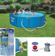 BestWay SWIMMING POOL 366cm 12FT Garden Round Frame Above Ground Pool + PUMP SET