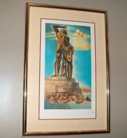 Salvador Dali The Collossus of Rhodes Signed MP 21/75 Framed w Auth Seal Print