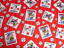 PEANUTS BASEBALL CHARLIE BROWN SNOOPY LUCY ALL STARS on COTTON FABRIC Last YARD