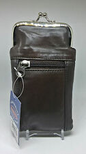 Marshals Brown Leather 100s Cigarette Case W/ Front Zippered Pocket