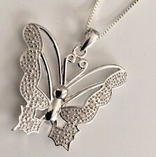 "16 Diamond .25 CTW 18"" Butterfly Pendant Necklace 14K White Gold"