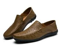 New Men Sandals Shoes Hollow Real Leather Breathable Flat Heel Round Toe Slip on
