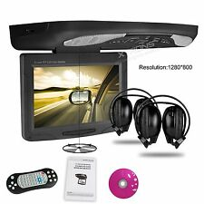 XTRONS 11.3'' Car Flip Down Monitor DVD Player Game VAN BUS Roof Mounted Black