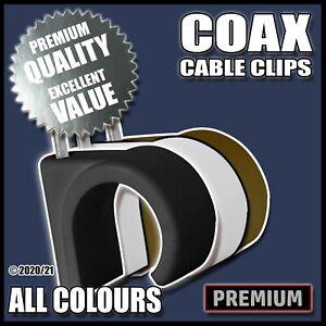 COAX Cable Clips TV/Satellite/CCTV - Coaxial Lead Cords Flex - Black/White/Brown