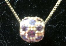 GOLD FILLED ON STERLING SILVER 17 INCH CHAIN WITH A AMETHYST BEAD PENDANT