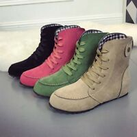 Women's Suede Martin Boots High Top Leather Ankle Round Toe Retro Flats Fashion