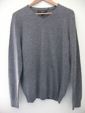 NWT Ethan Pierce 100% Cashmere Men's Pull Over Gray V Neck Sweater M $260