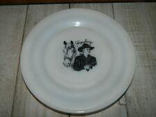 Vintage Hopalong Cassidy Cowboy Picture Plate White Hazel Atlas Hallmark Stamped