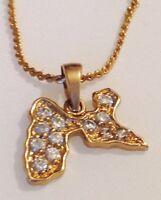 collier chaine pendentif rétro plaqué or poinçon carte Guadeloupe cz diamant 455