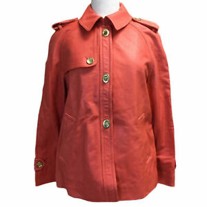 Coach Leather Jacket Button Down Bonnie Coat, Large, Red $898