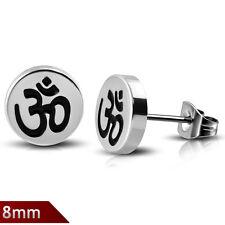 Ohrstecker Edelstahl OM / AUM Hindu Symbol Ohrringe Silber Schwarz Stecker ME110