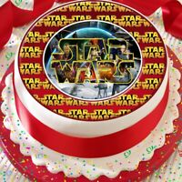 STAR WARS LOGO PRECUT EDIBLE BIRTHDAY CAKE TOPPER DECORATION ICING OR RICE